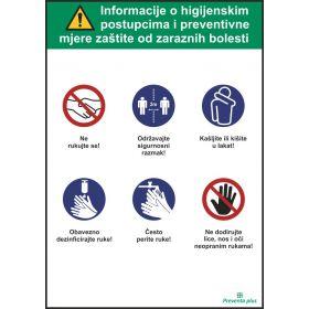 Informacije o higijenskim postupcima i preventivne mjere zaštite od zaraznih bolesti