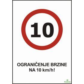 Ograničenje brzine na 10 km/h