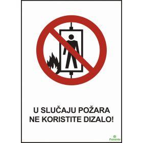 U slučaju požara ne koristite dizalo