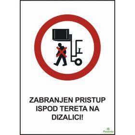 Zabranjen pristup ispod tereta na dizalici