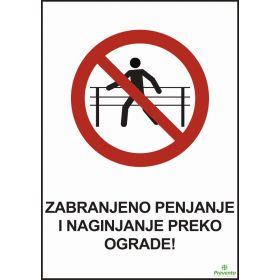 Zabranjeno penjanje i naginjanje preko ograde