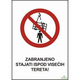 Zabranjeno stajati ispod visećih tereta